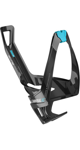Elite Cannibal XC Flaschenhalter schwarz glänzend/hellblaue Grafik